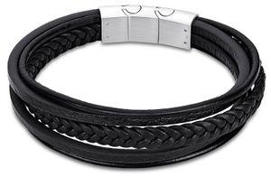 LOTUS LS2051-2-3 Herren Armband Edelstahl Silber Schwarz 23 cm