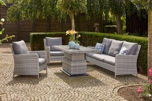 SIENA GARDEN Soria Loungeset, ice grey, Alu / Gardino®-Geflecht, 2 Sessel + 3er Sofa, stufenloser Lifttisch 160x90x47-71cm