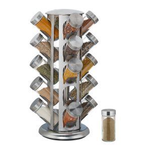 relaxdays Gewürzkarussell rund mit 20 Gläsern