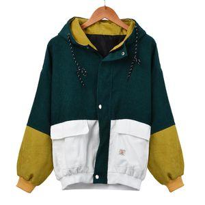 Damen Langarm Cord Patchwork Oversize Jacke Windbreaker Coat Mantel Größe:S,Farbe:Grün