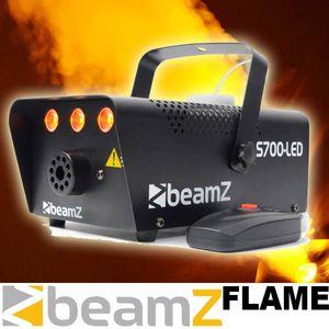 Beamz S700-LED Nebelmaschine mit Flammeneffekt Flammenwerfer (700W, 250ml Tank, 75m³/min Nebel-Ausstoß, 3m Kabel-Fernbedienung, inkl. Haltebügel für Wand und Decke, 3 Minuten Aufwärmzeit) schwarz