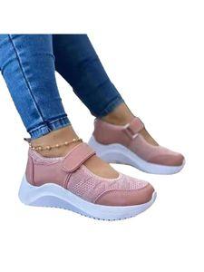 (Pink,38)Plateau-Sneaker Für Damen Bequeme Freizeitschuhe Sommersandalen