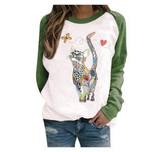 Frauen lässig Langarm Cat Print O-Ausschnitt Hoodie Shirt Pullover Tops Größe:M,Farbe:Grün