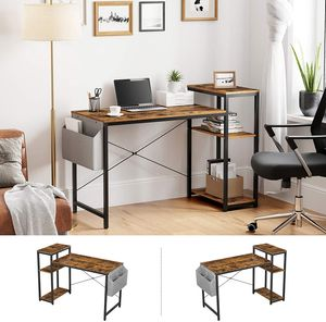 VASAGLE Schreibtisch, 130 x 55 x 90 cm, Computertisch mit Regal, verstellbare Ablage, mit Seitentasche, Industrie-Design, vintagebraun-schwarz LWD088B01