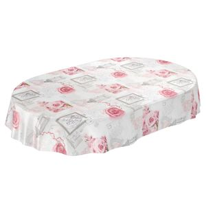 Liebe Rose Grau Oval 200x140cm Wachstuch Tischdecke
