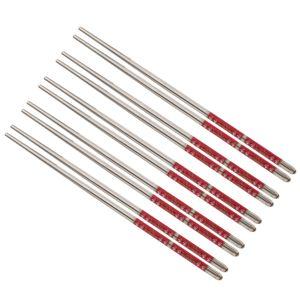5 Paar Edelstahl Essstäbchen wiederverwendbare Essstäbchen aus Metall c 22 cm