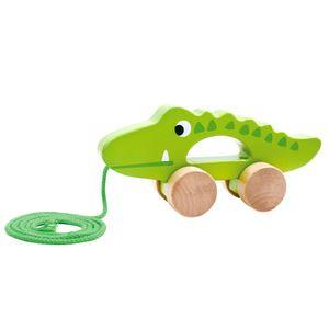 Tooky Toy Holz-Spielzeug Niedliches Krokodil zum Hinterherziehen ab 3 Jahren ca.