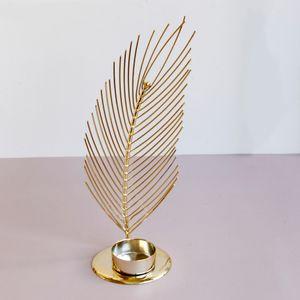 Kerzenständer Metall Gold Feder Teelicht Kerzenhalter Teelichthalter für Hochzeit Party Dekoration