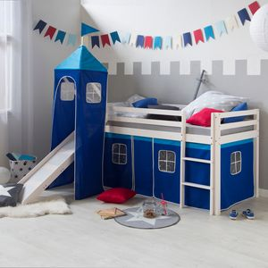 Homestyle4u 521, Hochbett mit Rutsche Leiter Tunnel Turm,, Weiß Blau, 90x200