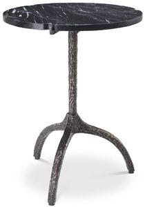 Casa Padrino Luxus Beistelltisch Bronzefarben / Schwarz Ø 45 x H. 58,5 cm - Messing Tisch mit Marmorplatte - Wohnzimmer Möbel - Luxus Möbel