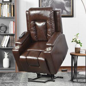 ModernLuxe Fernsehsessel Massagesessel Liegesessel Elektrisch Relaxsessel Aufstehhilfe Ruhesessel Sessel mit Aufstehhilfe und Liegefunktion aus Kunstleder, Max.Benutzergewicht 150kg, Schokolade Braun