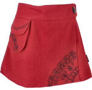 Goa Wickelrock, Bestickter Cacheur aus Wollfilz - Rot, Damen, Wolle, Größe: XL
