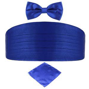 DonDon 3er Set Herren Kummerbund Fliege Einstecktuch farblich abgestimmt glänzend - Blau