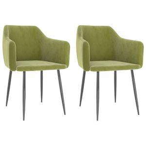 Esszimmerstühle 2-er SET   Wohnzimmerstuhl Küchenstuhl Sessel   Stuhl Küche Esszimmer Retro-Design Hellgrün Samt  6470