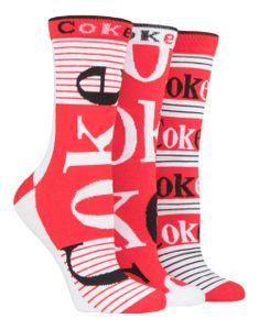 Coca Cola - 3er Pack Damen Lustig Baumwolle Socken für Geschenk | Socken für Damen
