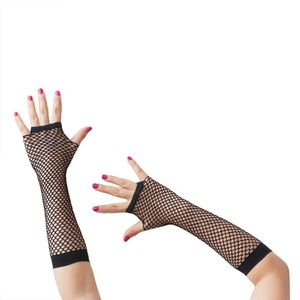 Oblique Unique Netzhandschuhe lang fingerlos Party Karneval Fasching - schwarz
