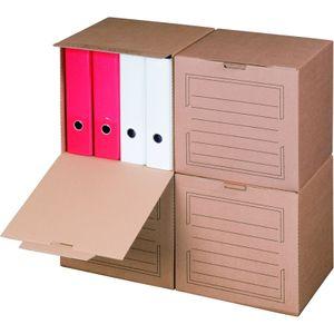 20 x Archivboxen Archivschachteln für bis zu 4 Ordner (80 mm) mit Frontklappe, in Braun