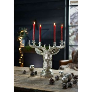 Kerzenhalter Hirschkopf Kerzenleuchter Kerzenständer silber - 40 x 20 x 40,5 cm