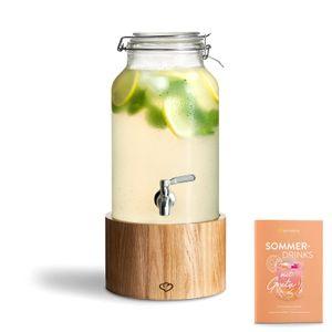 Springlane Glas Getränkespender Greta mit Edelstahl-Zapfhahn & Ständer aus Eichenholz, Limonaden-Spender, Vintage Design Mason Jar Getränkespender 5 L