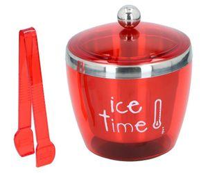 Eiskübel mit Deckel und Zange Edelstahl Eiswürfelbehälter Eiseimer Eiskühler Ice Bucket, Volumen ca. 750 ml, Farbe Rot