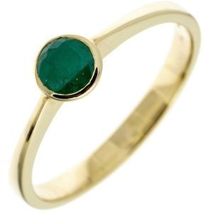 JOBO Damen Ring 333 Gold Gelbgold 1 Smaragd Goldring Größe 60