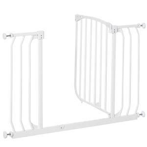 HOMCOM Türschutzgitter Treppenschutzgitter für 6-24 monatliche Kinder Türöffnungen Flure Treppen 97-108 cm breit erweiterbar Weiß