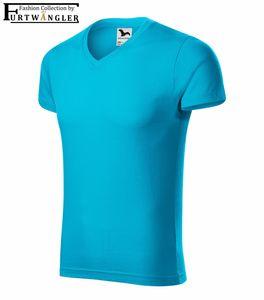 T-Shirt türkisblau 2XL Herrenshirt V-Ausschnitt Furtwängler Slim Fit V-Neck 180 g/m²