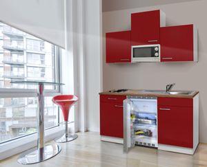 respekta Küche Singleküche Miniküche Küchenzeile Küchenblock 150 cm weiß rot