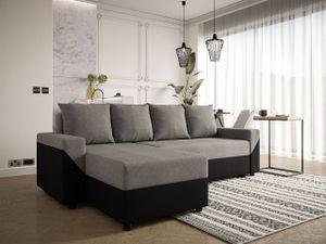 Mirjan24 Ecksofa Zip, Eckcouch ,Polsterecke, Wohnzimmer, mit Schlaffunktion und Bettkasten (Mikrofaza 0015 + Mikrofaza 0014)