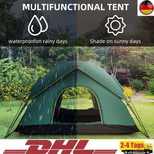 Campingzelte Pop-Up Wurfzelt   5-6 Person 190T Zelt Camping   Familienzelt Automatikzelt   Wasserdicht Tent Travel   Zweischichtiges grünes Zelt