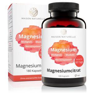 MAISON NATURELLE® – Magnesiumcitrat Kapseln (180 Stück) – Hochdosiert mit 2250 mg Magnesium – Magnesiumcitract Hochdosiert Kapseln Magnesiumcitract Magnesium Citrate  Magnesiumcitract Kapseln Vegan
