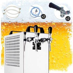 Komplett Set Zapfanlage Kontakt 40/K Bierzapfanlage 2-leitig Trockenkühlgerät aus Edelstahl, 50 Liter/h, mit Membranpumpe, Green Line, Zapfkopf:Flach, Zapfkopf 2:Köpi