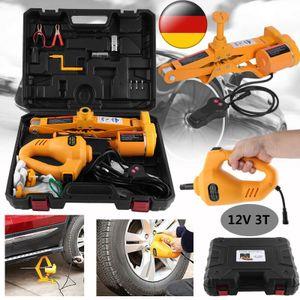 3T Elektrischer 12V Wagenheber Scherenlift + Schlagschrauber Reifenwechsel + Controller