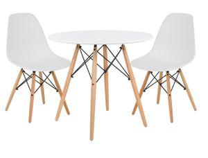 Modell Eiffel Weißer Tisch Ø 80 Höhe 75 mit 2 Stühlen aus weißem PP