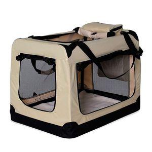 dibea Hundetransportbox Hundetasche Hundebox faltbare Kleintiertasche (M) 60x42x44 cm Beige