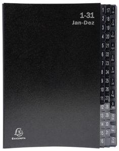 EXACOMPTA Pultordner DIN A4 1-12/1-31/ 44 Fächer schwarz