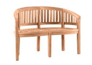 Möbilia Gartenbank 120 cm | Bananenbank 2-Sitzer aus Teak Holz | B 120 x T 53 x H 85 cm | natur | 11020012 | Serie GARTEN