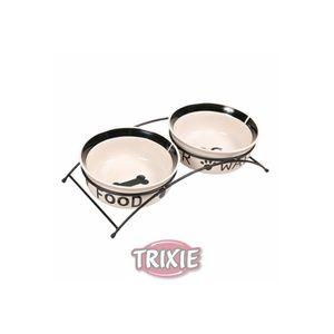 Trixie Eat-on-Feet Napf-Set, weiß / schwarz - Größe: 2 x 0,6 l/d= 15 cm