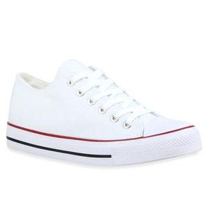Mytrendshoe Damen Sneakers Sportschuhe 97316 Freizeit Stoffschuhe, Farbe: Weiß Rotstreifen, Größe: 42