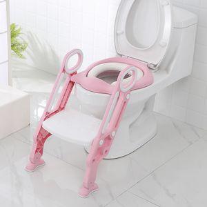 Töpfchentrainer Kinder-Töpfchen Toilettensitz mit Leiter Töpfchen Sitz für Toiletten(Rosa)