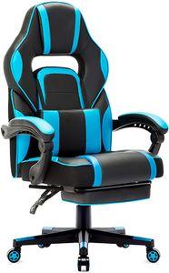 Gaming Stuhl Bürostuhl Schreibtischstuhl Gamer Stuhl Höhenverstellbar mit Fußstützen, Blau