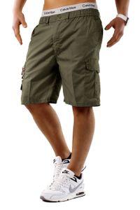 Herren Bermuda Cargo Shorts kurze Capri Sommer Hose Freizeit Basic, Farben:Khaki, Größe Shorts:XXL