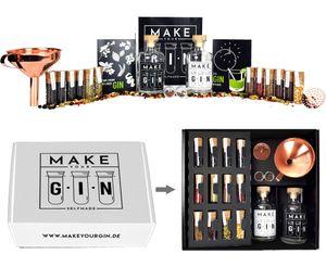 Make Your Gin Geschenkset Geschenkbox in weiß - Gin zum Selbermachen - 11 Botanicals + Bar Trichter + Anleitung mit Rezept