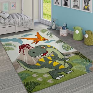 Kinderzimmer Teppich Grün Dinosaurier Dschungel Vulkan 3-D Effekt Kurzflor, Grösse:120x170 cm