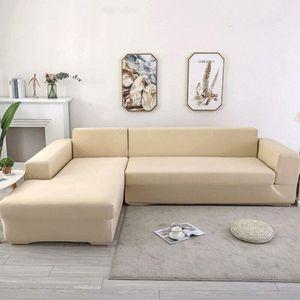 2 Stücke Sofabezüge Sofasitzbezüge Sofahusse Abdeckung für L Form Schnittsofa mit 2tlg Kissenbezüge (Beige)
