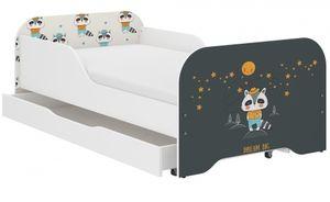 iGlobal Kinderbett Jugendbett Miki mit Lattenrost und Matratze, eine Unterbett-Schublade mit Rollen, Rausfallschutz Dachs 140x70 cm