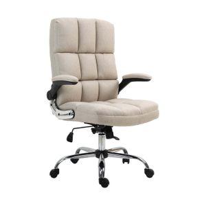 Bürostuhl HWC-J21, Chefsessel Drehstuhl Schreibtischstuhl, höhenverstellbar  Stoff/Textil hellbraun