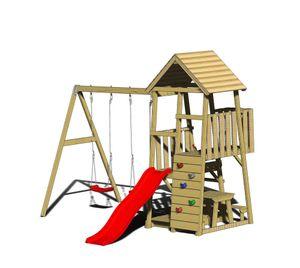 Wendi Toys Kinderspielturm Flamingo 3,4x2,9 m natur inkl. Rutsche, Schaukelgerüst und Kletterwand