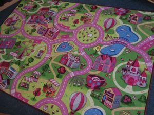 Kinderteppich Straßenteppich Straße Spielteppich Autoteppich Mädchen Auto Stadt Pink