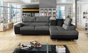 Mirjan24 Ecksofa Cotere, Eckcouch mit Schlaffunktion und Bettkasten, L-Form Sofa vom Hersteller, Wohnlandschaft  (Soft 011 + Lux 06 + Soft 011, Seite: Rechts)